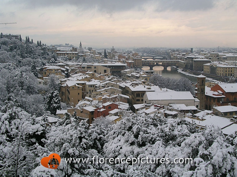 Snowy view of Florence